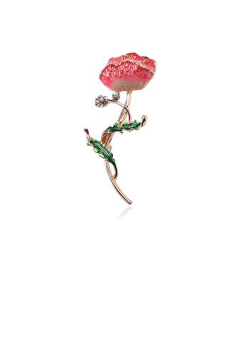 Glamorousky white Fashion and Elegant Plated Gold Red Flower Brooch with Cubic Zirconia D379EACC34818DGS_1