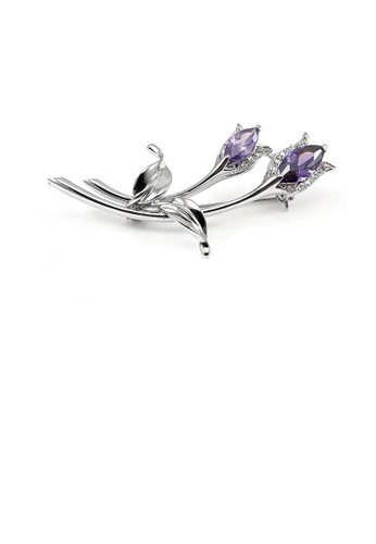 Glamorousky purple Elegant Flower Brooch with Silver and Purple Austrian Element Crystals 0D27EAC781CE59GS_1