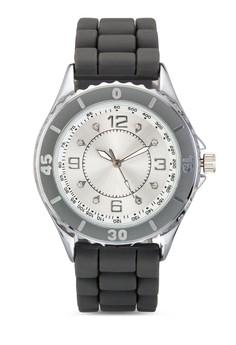 【ZALORA】 鑲嵌玻璃矽膠錶帶手錶