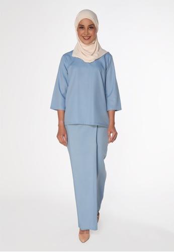 House Of Olsha blue Signature Kamelia Kurung Kedah - Bayu 04D88AA6D496EAGS_1