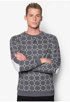 Printed Sweatshirt with Elbow Details