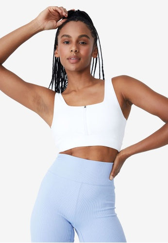 Cotton On Body white Ultimate Zip Front Crop Top A8F2FUS4ABD67DGS_1