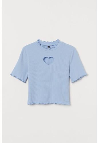 H&M blue Cut-out-detail top 2148EAABE1181EGS_1