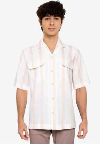 MANGO Man white Striped Cotton Linen Shirt ECCDAAA42B8112GS_1