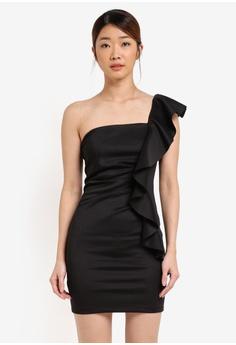 348652fff1fe Miss Selfridge black Black Scuba Shoulder Detail Dress MI665AA0T090MY 1