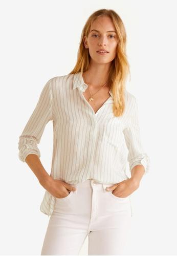 Mango white Striped Textured Shirt 845C1AA615EC39GS_1