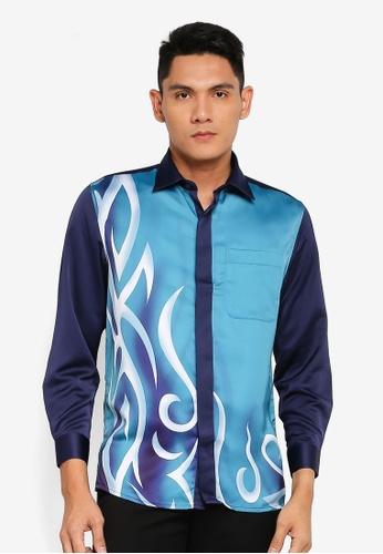 Gene Martino blue Long Sleeve Batik 6E22BAA44B9F03GS_1