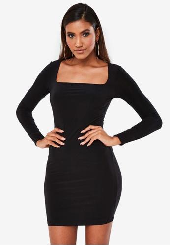 MISSGUIDED black Slinky Wide Neck Mini Dress AA9E6AA1BB27F3GS_1