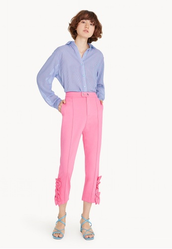 Pomelo pink High Waisted Frill Trim Tapered Pants - Hot Pink 01DE7AA107C173GS_1