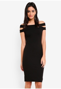 2a7b2480257 Goddiva black Double Bardot Midi Dress 4E17BAA1A25167GS 1