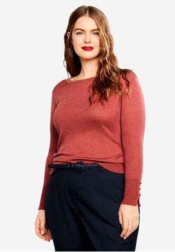 Violeta by MANGO red Plus Size Fine-Knit Sweater 49970AA3BE21E5GS_1