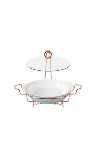 Slique white Round Casserole Serving Dish With 2 Burner 1600ml 80246HL252351BGS_1