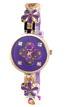Trendy Floral Ladies Watch with Stainless and Silicone Strap