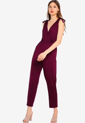 ZALORA 紫色 肩綁帶連身褲 F1854AA1B41168GS_1