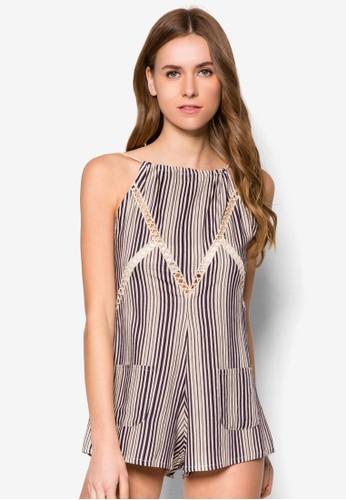 Penelope 鉤針拼接條紋連esprit 品牌身褲, 服飾, 服飾