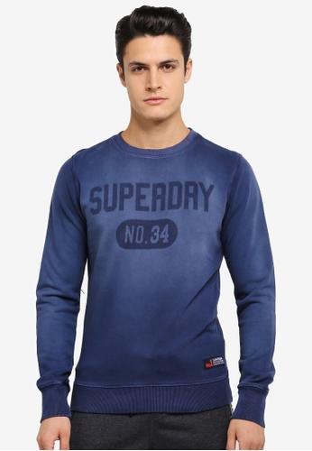Superdry blue Heritage Wash Crew Sweatshirt SU137AA0SLO4MY_1