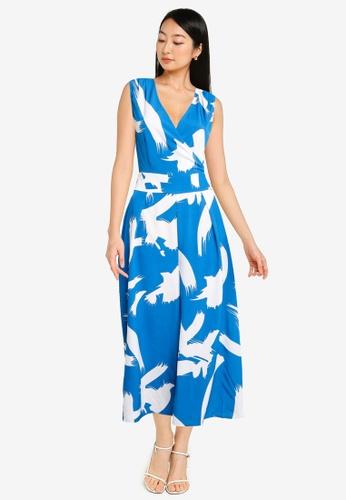 ZALORA BASICS blue and multi V Neck Wide Leg Tie Waist Jumpsuit 92C64AAB61A405GS_1