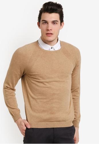Burton Menswear London beige Oatmeal Crew Neck Jumper BU964AA0RJEOMY_1
