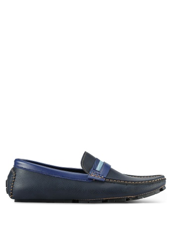 UniqTee blue Penny Loafers With Strap Detail UN097SH0S212MY_1