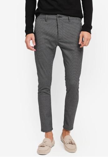 Topman black Black Micro Check Spray On Trousers TO413AA0SR8UMY_1