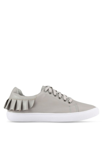 Velvet grey Frill Lace Up Sneakers D06ACSHC9B3AADGS_1