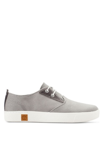 Timberland grey Amherst Plain Toe Canvas Oxford Shoes TI063SH10FDLMY_1