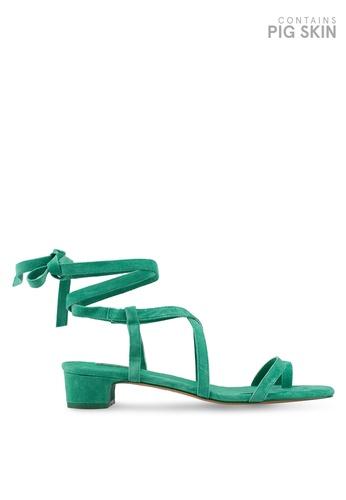 TOPSHOP 綠色 麂皮綁帶高跟涼鞋 76E22SHC7A5265GS_1