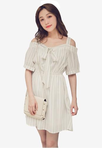 Eyescream white Cold Shoulder Stripes Dress 8C1C1AA0B5C61CGS_1