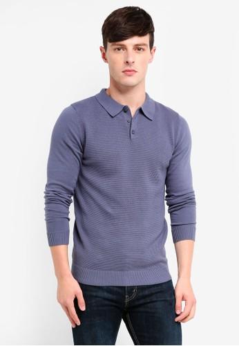 Jack & Jones grey Roberto Knit Polo Shirt E98EDAA62BC1E7GS_1