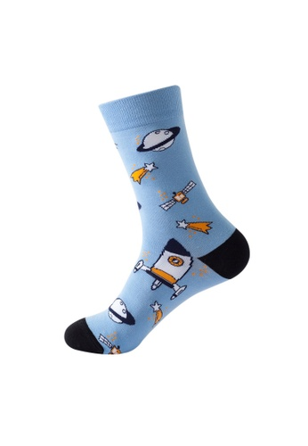 Kings Collection blue Planet & Artificial Satelite Pattern Cozy Socks (One Size) HS202167 602E8AA53B4299GS_1