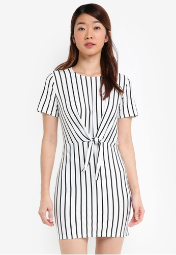 Miss Selfridge white Petite Striped Knot Front Bodycon Dress 0ED8FAA647DC8CGS_1