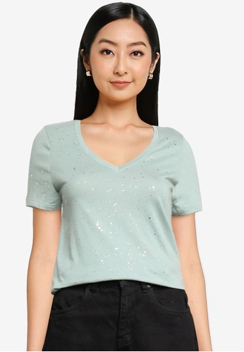GAP green Short Sleeve Favorite V-Neck Top 94296AA1EFFA78GS_1