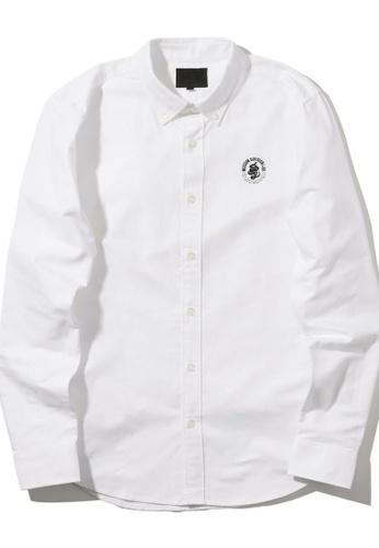 MUSIUM DIV white Logo embroidered zip-detail shirt 12A6DAADC2DC96GS_1