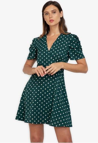 ZALORA WORK multi Puff Sleeve Fit & Flare Dress A6C81AA8C81209GS_1
