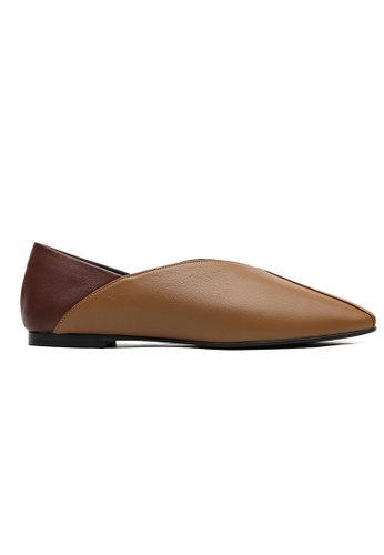 Byford brown Rose square toe paneled flats 5BBFESHCB73ADAGS_1