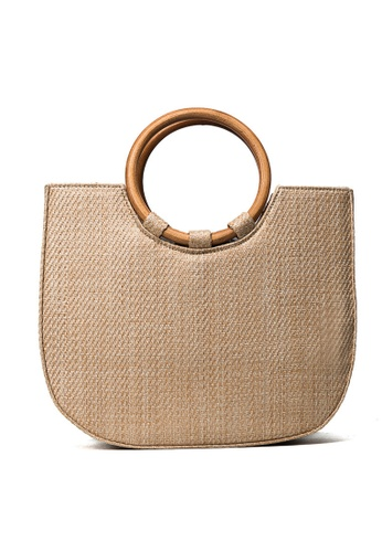 Lara beige Woven Straw Top-Handle Bag 830F1AC9E85ABEGS_1