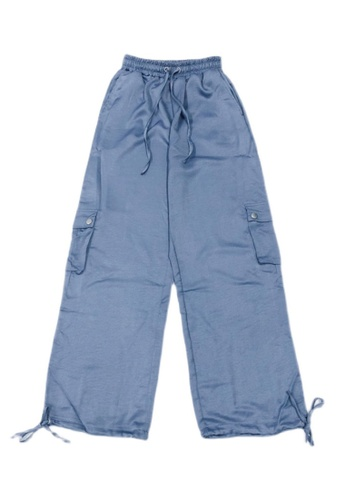 Zafiti blue Women's Drawstring Waist Ankles-tied Loose Cargo Pant - Blue EFFE1AA019DD1AGS_1