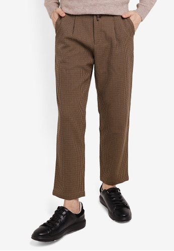 GLOBAL WORK brown Woven Trousers D0E41AA255F717GS_1