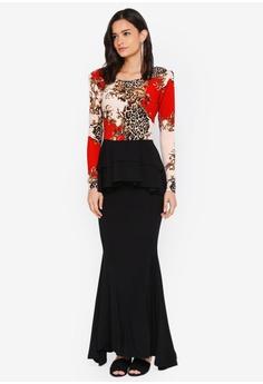 8534f8e16ced0 Zuco Fashion black and red Midi Peplum Kurung D4935AA272B5C0GS 1
