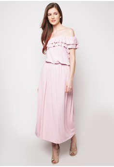 One Shouldered Ruffle Maxidress