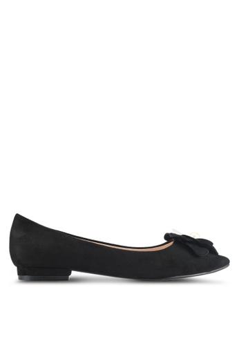 Velvet black Flower Embellished Ballet Flats 76318SH8BB2029GS_1