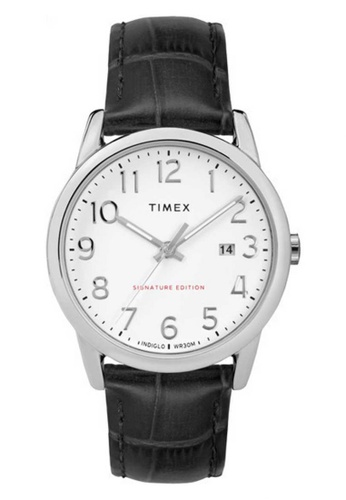 Timex black Timex Easy Reader Signature 38mm - Silver-Tone Case, Black Strap (TW2R64900) E645DACCD87BCEGS_1
