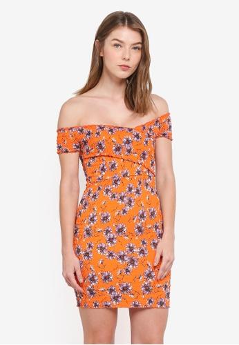 TOPSHOP orange Shirred Wrap Bodycon Dress C362EAA3266AECGS_1
