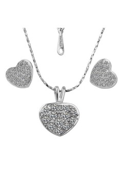 Treasure by B&D S056 Classic Czech Drilling Heart Pendant Necklace & Earrings Party Jewellery Set
