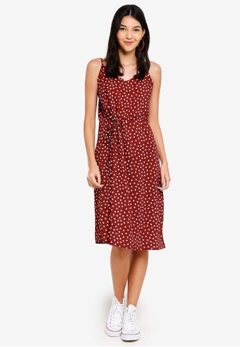 Cotton On red Woven Mimi Rouched Midi Dress 0C686AA2A4C1EAGS_1