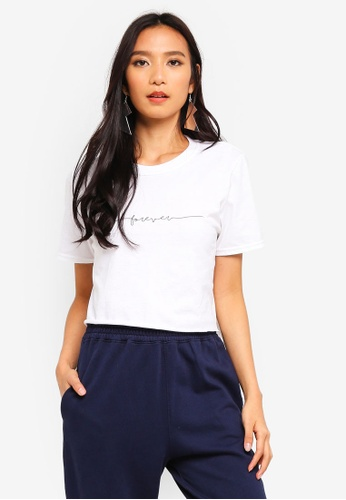 MISSGUIDED white Forever Signature Crop T Shirt 9CFE4AA70B0454GS_1