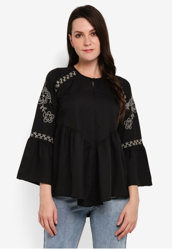 BYN black Embroidery Long Sleeve Top 1F023AA0A06871GS_1