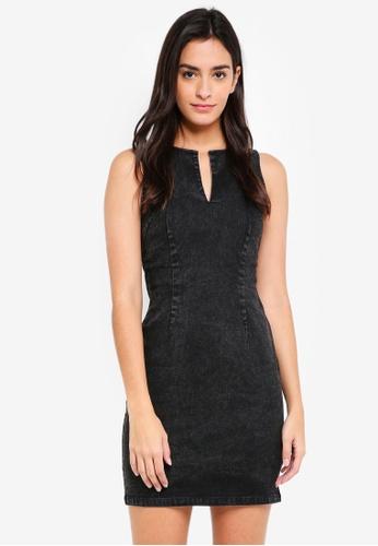 ZALORA BASICS black Denim Bodycon Dress BE896AA439DA93GS_1