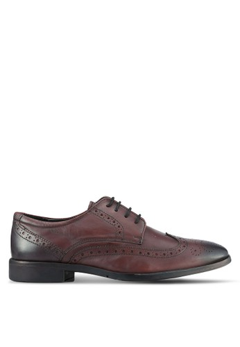 ZALORA brown Soft Cowhide Leather Wing Tip Brogue Shoes 321BESH728BEECGS_1