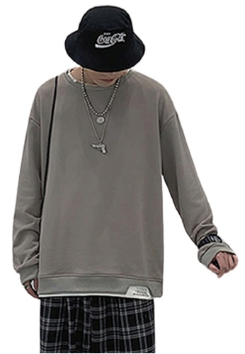 Trendyshop beige Fake Two Layer Long Sleeves Tee 997EEAADDFD0C5GS_1